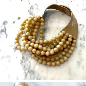 Fairchild Baldwin taupe beaded layer necklace